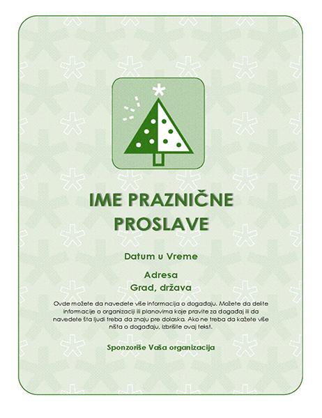 Letak praznične proslave (sa zelenim drvetom)
