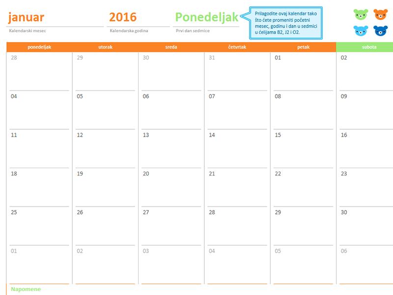 """Mesečni kalendar za bilo koju godinu (12 stranica, dizajn """"Mede i duga"""")"""