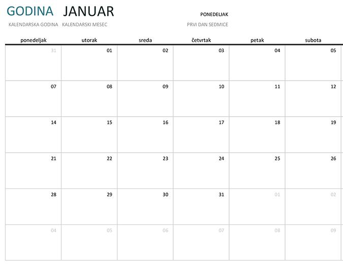 Mesečni kalendar za svaku godinu