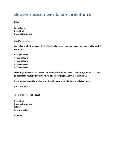 Obaveštenje zakupcu o popravkama koje treba da izvrši (tipsko pismo)