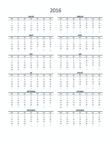 Jednogodišnji kalendar