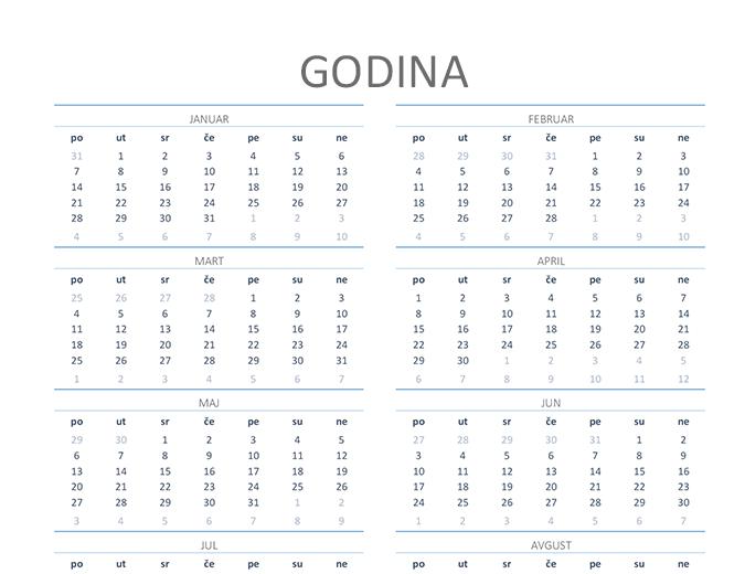 Kalendar za bilo koju godinu (pon–ned)