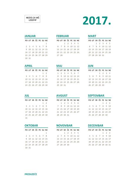 Kalendar sa prikazom cele godine za 2017. (pon–ned)