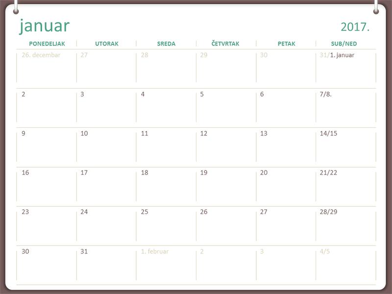 Kalendar za 2017. (pon–ned, dizajn sa dva prstena)