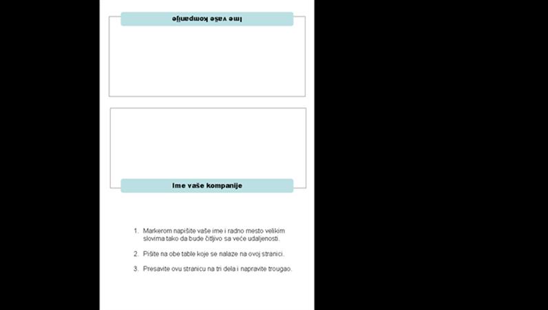 Kartice sa imenom za skup (3-presavijeno)