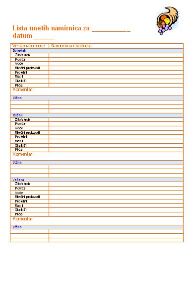 Lista unetih namirnica