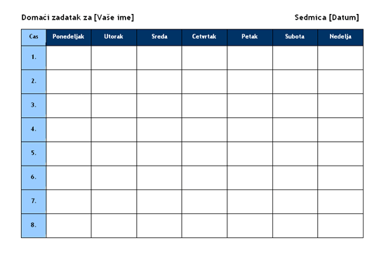 Raspored sedmičnih domaćih zadataka
