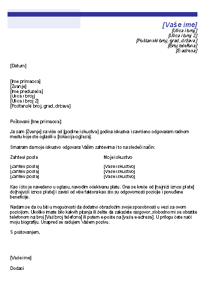 Uvodno pismo sa očekivanom platom (tema sa plavom linijom)