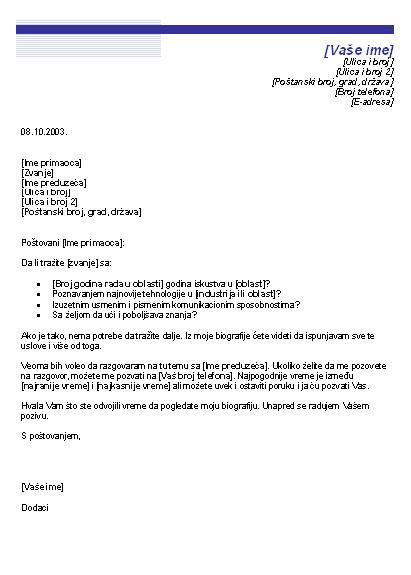 Uvodno pismo sa biografijom za neobjavljeno radno mesto (tema sa plavom linijom)