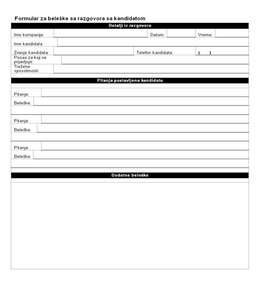 Formular za beleške sa razgovora sa kandidatom