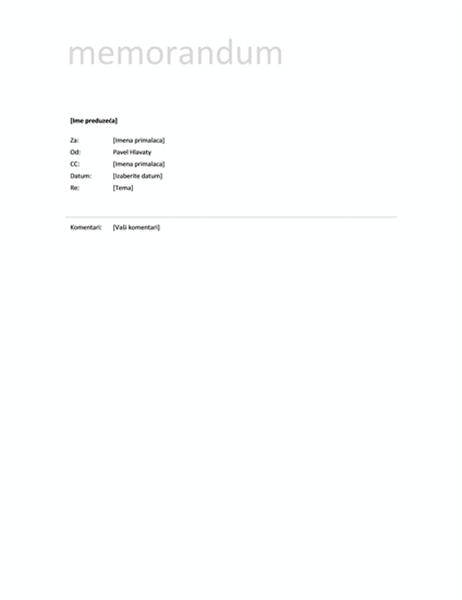 Memorandum (jednostavni dizajn)
