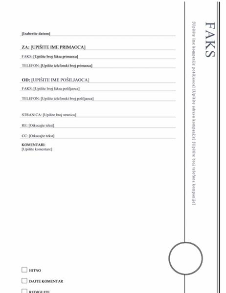 Naslovna strana za faks (Oriel dizajn)
