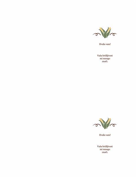 Zahvalnica (dizajn sa motivima žetve)