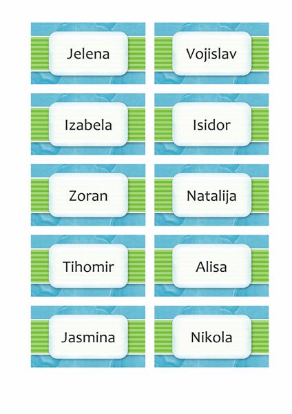 Kartice sa imenima ili kartice za mesta (dizajn sa oblacima, 10 str)