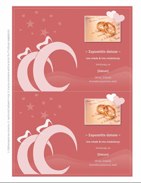 Razglednica za pamćenje datuma venčanja