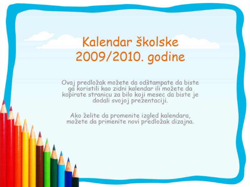 Kalendar školske 2009/2010. godine (pon-ned, avg-avg)