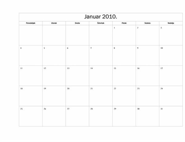 Kalendar za 2010. godinu (osnovni dizajn, pon-ned.)