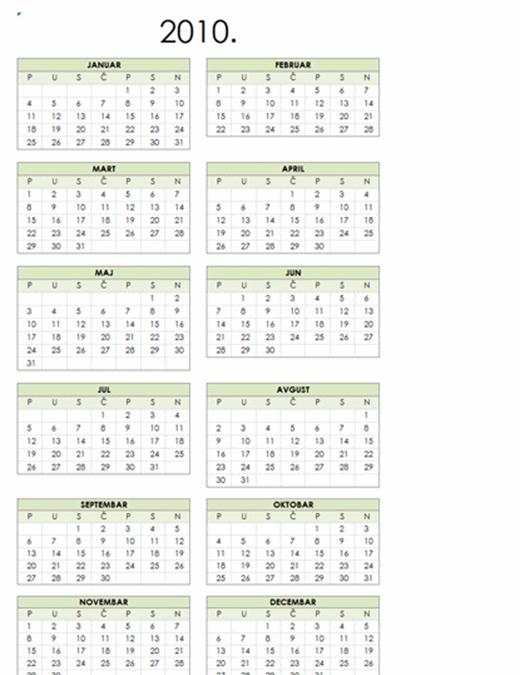 Kalendar za 2010. godinu (1 str., portret, pon.-ned.)