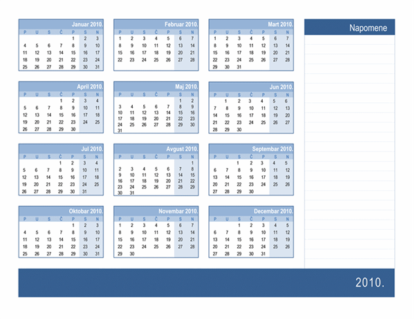 Kalendar za 2010. godinu sa prostorom za beleške (1 str.)