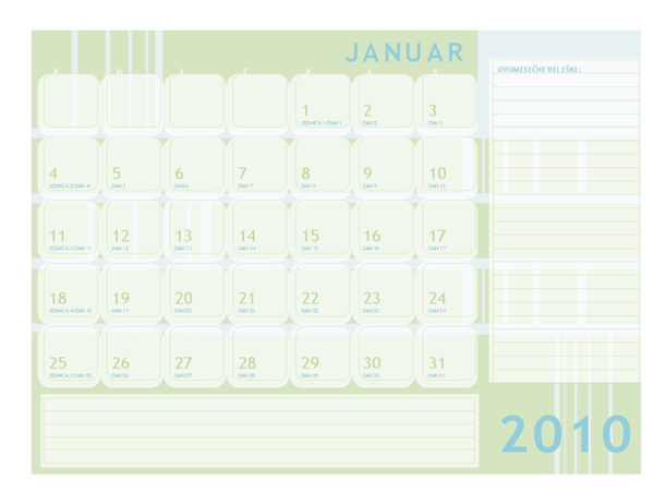 Julijanski kalendar za 2010. godinu
