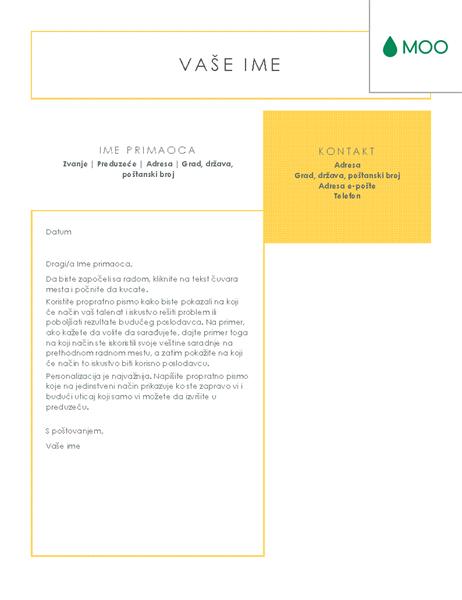 Jasno i uredno propratno pismo koje je dizajnirao MOO