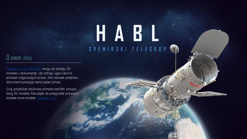 3D PowerPoint prezentacija (Model Hablovog teleskopa)