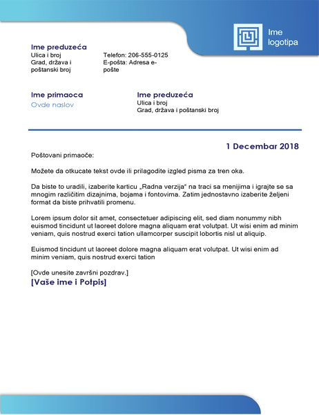 Poslovno pismo (plava ivica i preliv boja)