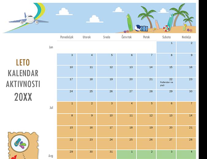 Calendario de actividades de verano