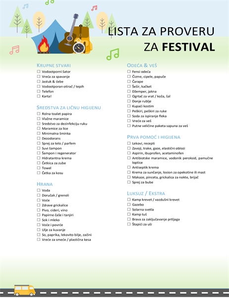 Lista za proveru za festival