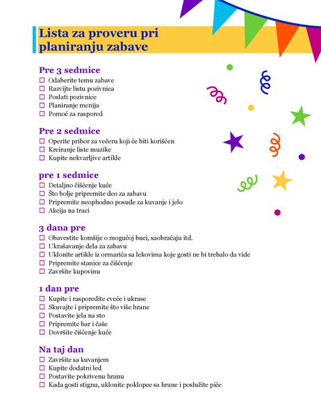 Lista za proveru pri planiranju zabave