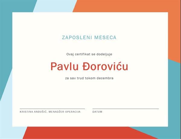 Certifikat – zaposleni meseca