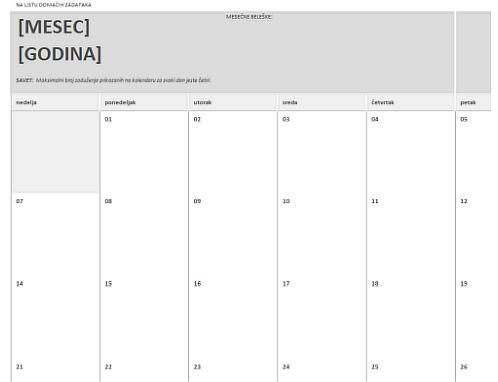 Kalendar za domaće zadatke