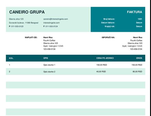 Osnovna faktura sa cenom po jedinici