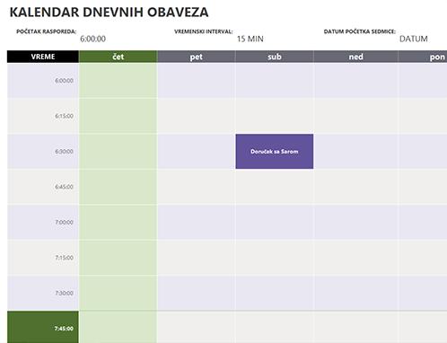 Kalendar dnevnih obaveza