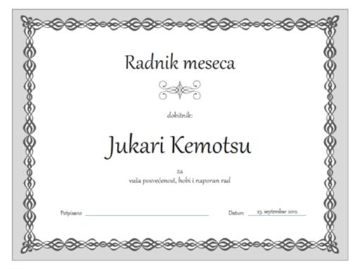 Certifikat, radnik meseca (dizajn sa sivim lancem)