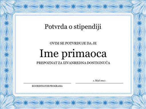Potvrda o stipendiji (formalna plava ivica)