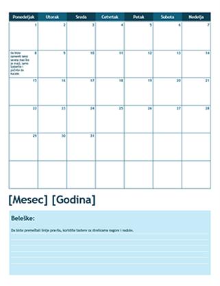 Akademski kalendar za mesec dana (počinje od ponedeljka)