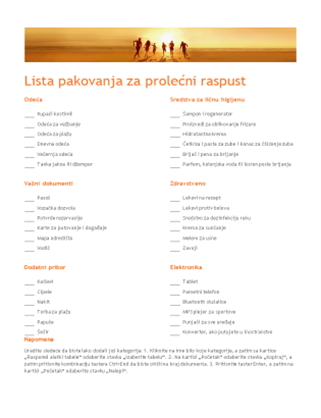 Lista za pakovanje
