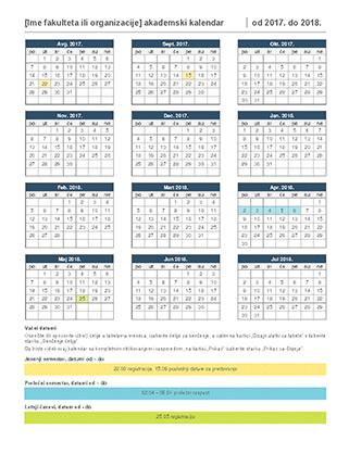 Akademski kalendar, 2017.–2018.