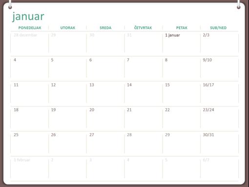 Kalendar za 2018. (pon–ned, dizajn sa dva prstena)