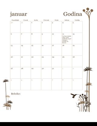Kalendar od 12 meseci (pon–ned)