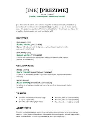 Hronološka biografija (moderni dizajn)