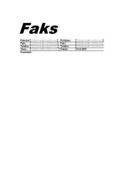 Naslovna stranica standardnog faksa