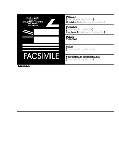 Naslovna stranica poslovnog faksa