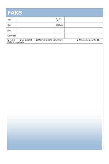 Naslovna strana faksa (tema sa plavim prelivom boja)