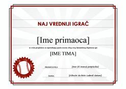 Certifikat za najvrednijeg igrača