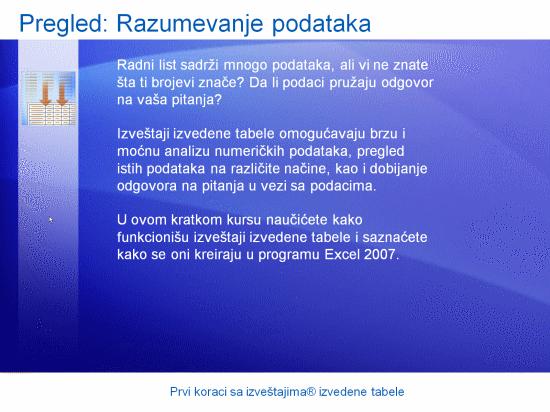 Prezentacija obuke: Prvi koraci sa izveštajima izvedene tabele u programu Excel 2007