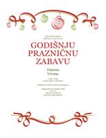 Pozivnica na prazničnu zabavu sa crvenim i zelenim ukrasima (formalni dizajn)