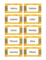 Kartice sa imenima ili kartice za mesta (dizajn sa suncem i peskom, 10 str)
