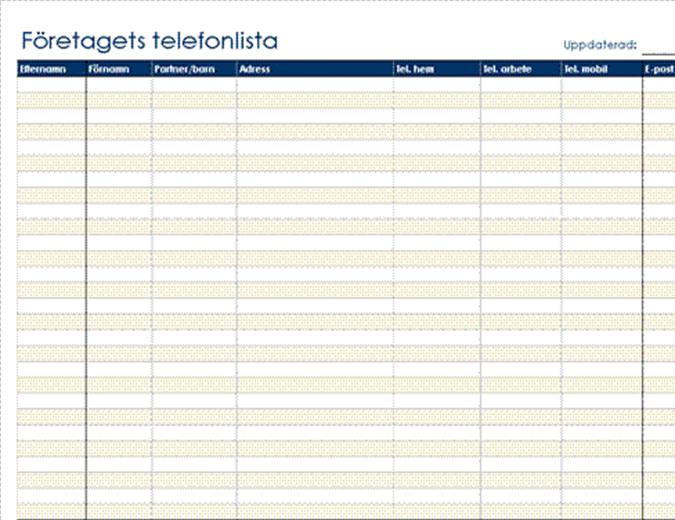 Organisatorisk telefonlista